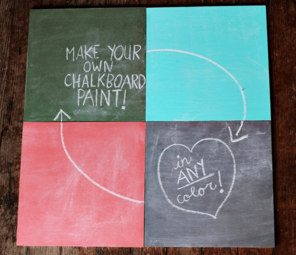 4 different colored chalkboard squares