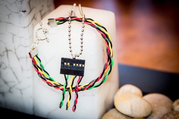 Upcycled e-waste jewelry