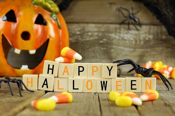 Halloween decor like these wooden blocks can be reused from year to year. Photo credit: Shutterstock.com