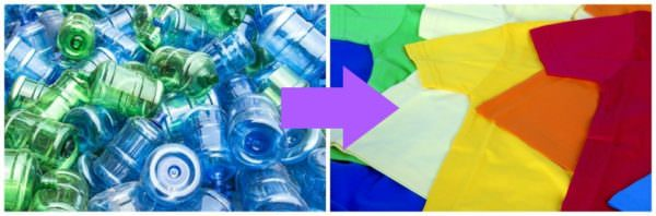 bottles are recycled into clothing