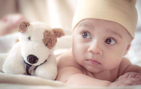 close-up of baby next to stuffed toy