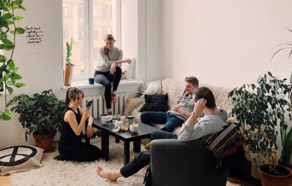 four adults sit in a comfortable living room with plants