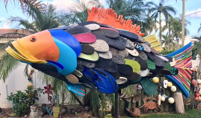 Flip-flop grouper assembled with litter picked up along the shoreline in South Florida. Sculpture: Kurt Wiese of Free Our Seas & Beyond