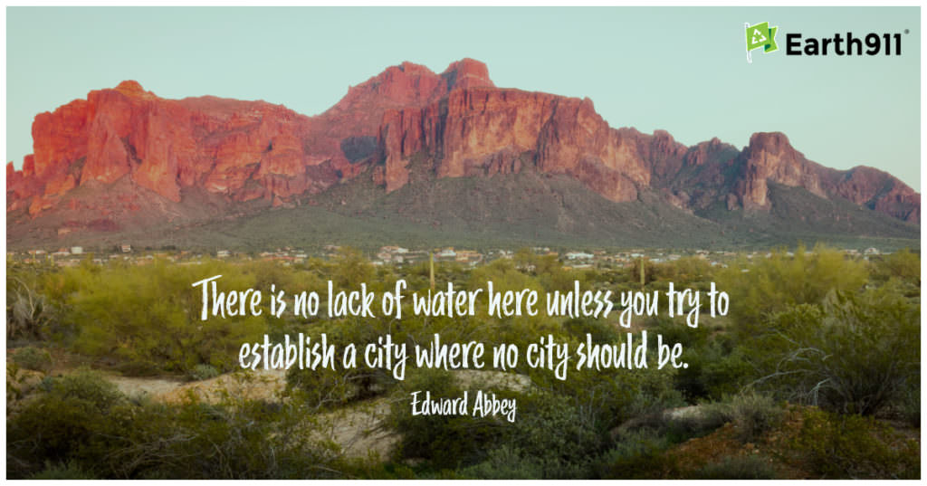 """""""There is no lack of water here unless you try to establish a city where no city should be."""" --Edward Abbey"""