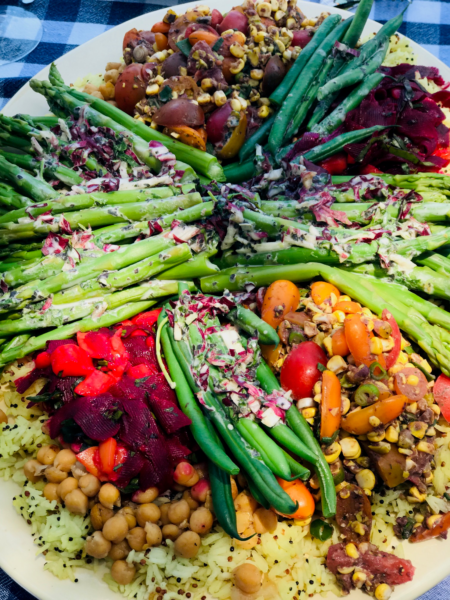 colorful plate of vegetables and legumes