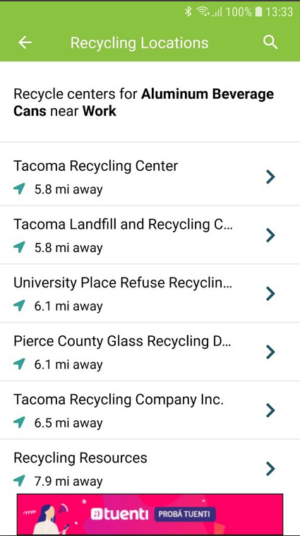 iRecycle app Recycling Locations screen