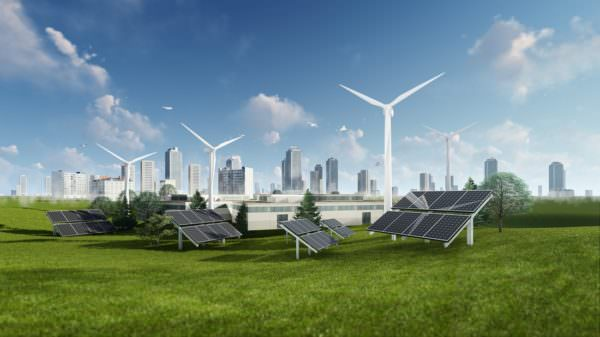 renewable energy concept with solar panels and wind turbines
