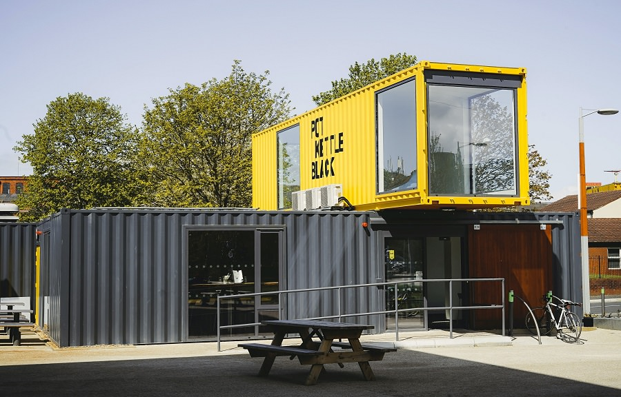 Coffee shop building made from shipping container