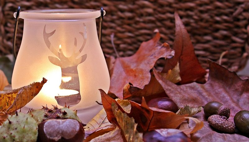 fall decoration and candle